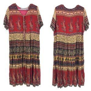 Vintage CLASS Prairie Paisley Ruffle Maxi Dress